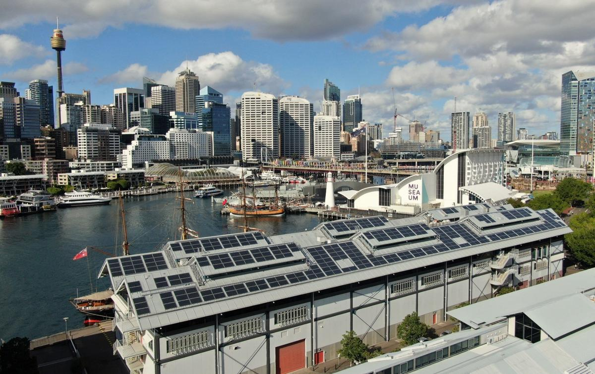 The 235-kilowatt, 812-panel, rooftop solar installation at the Australian National Maritime Museum is the largest lightweight solar roof in the country