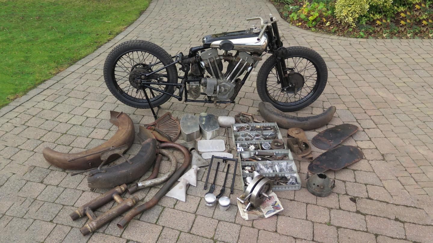 This 1930 Brough Superior SS100 basketcase set a new world auction record of £425,500 ($561,556) for the marque at H&H Classics National Motorcycle Museum Sale in the United Kingdom on March 2, 2019.