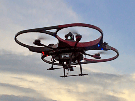 The Mobile Recon Systems KittyHawk quadcopter is over three feet (95 cm) wide and lifts a 9.5-lb (4.3-kg) payload