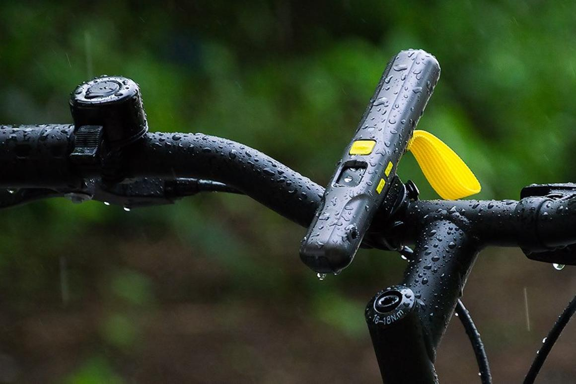 The RidingToo RT1 host unit (shown here) and the Bluetooth remote are both IP67 waterproof