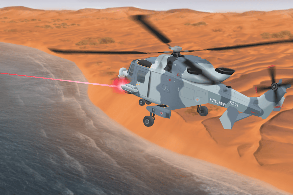 Artist's rendering of a helicopter-mounted laser DEW