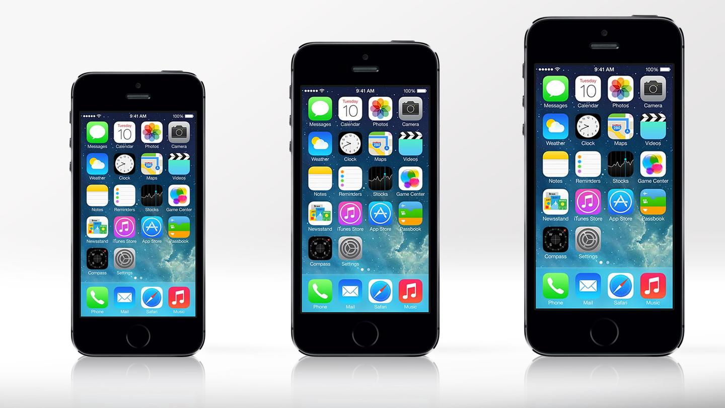 Apple is reportedly working on two new iPhones (rendered approximately next to iPhone 5s), one with a 4.5-in or larger screen and another with a 5-in or larger screen