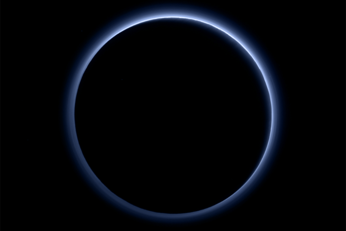 Color image of Pluto created by software that combined information from blue, red and near-infrared images snapped by New Horizons, to recreate the scene as viewed by a human eye