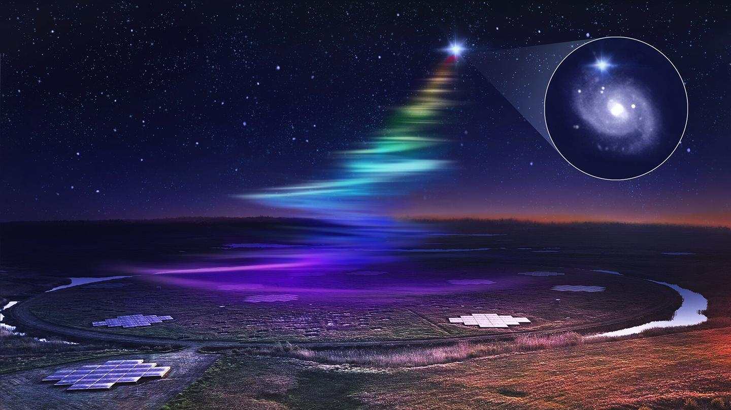 Artist's impression of low frequency radio waves from an FRB washing over the LOFAR telescope in the Netherlands