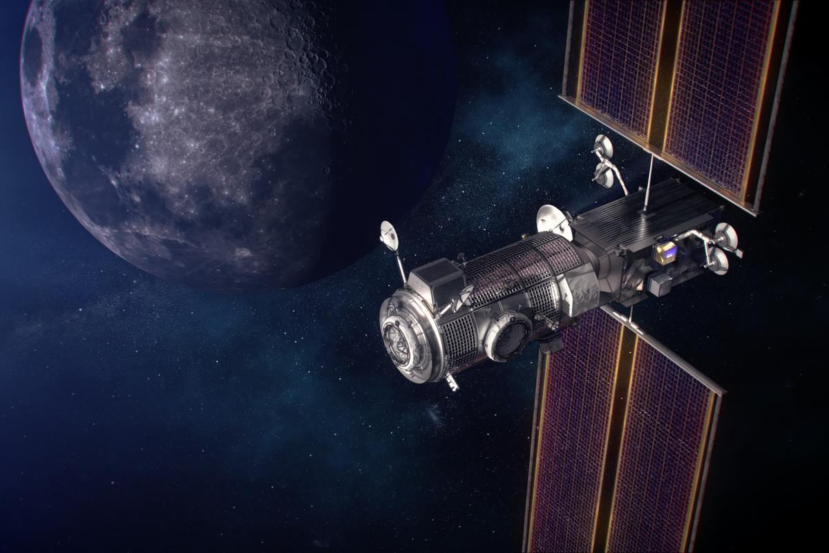 Artist's concept of the Gateway power and propulsion and Habitation and Logistics Outpost, or HALO, in orbit around the Moon