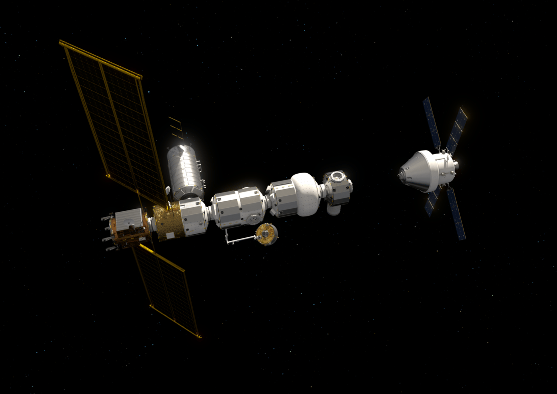 Artist'c concept of Orion docking with Gateway