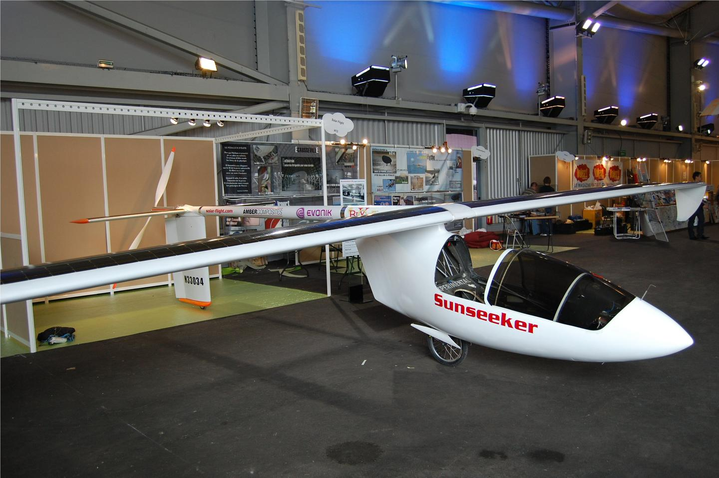 The Sunseeker II solar-powered airplane on display at the Green Air Show in Paris