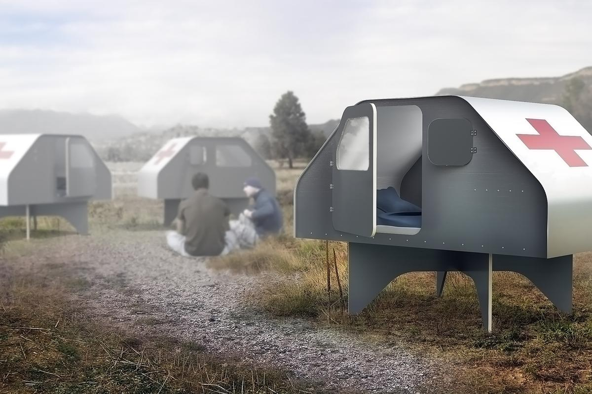 The Duffy Shelter measures 185 x 125 x 142 cm (73 x 49 x 56 in) and can sleep two adults