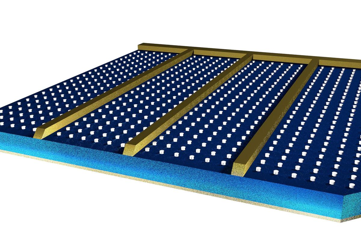 Aluminum studs on top of a PV panel could boost the efficiency of any solar cell design (Image: Imperial College London)