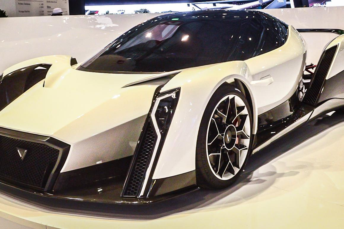 Singapore's first electric supercar, the Dendrobiumby Vanda Electrics, is unveiled in Geneva