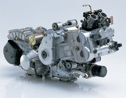 The high-tech 638cc parallel twin is canted forward to fit within the scooter's form factor.