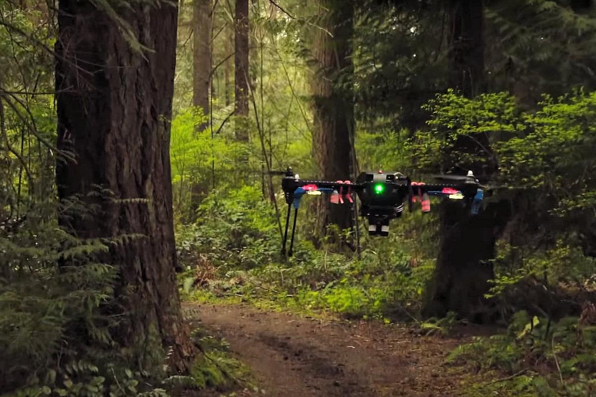 The Nvidia drone uses camera and deep learning to understand and navigate its way down a forest trail