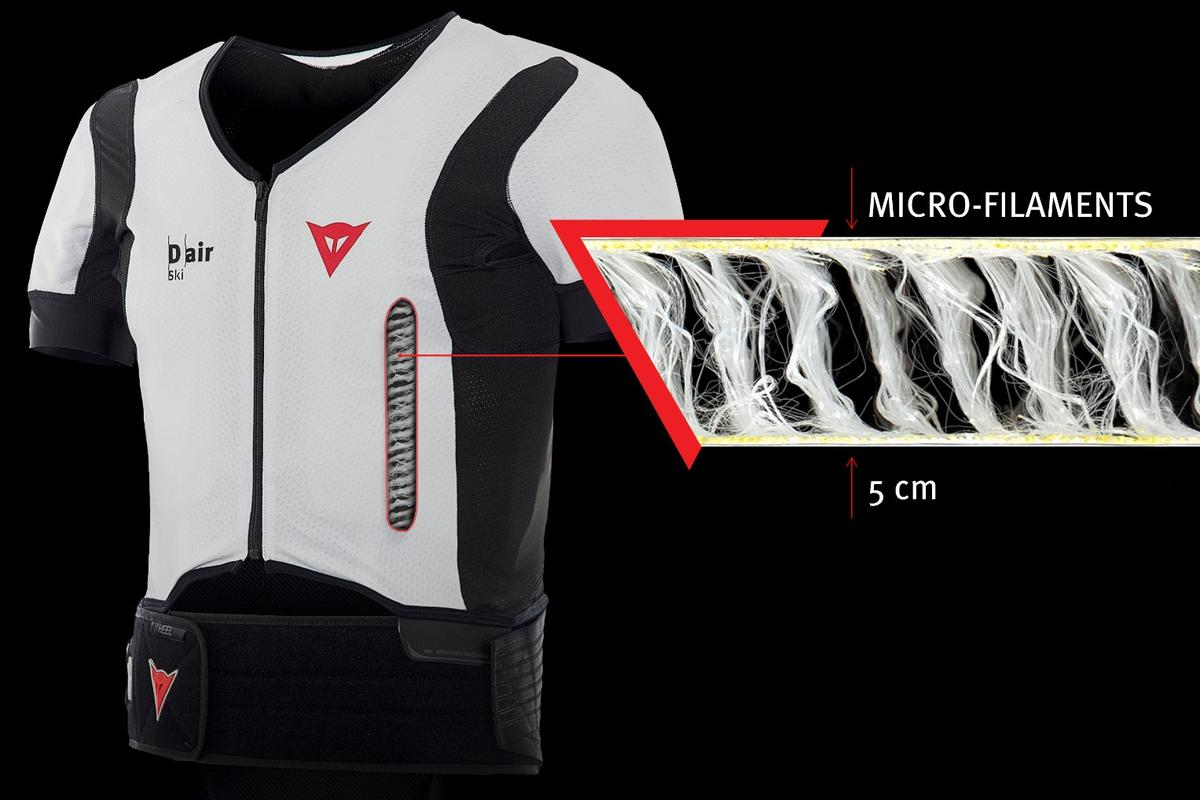 Dainese's D-air Ski garment relies on micro-filaments to help it expand during deployment