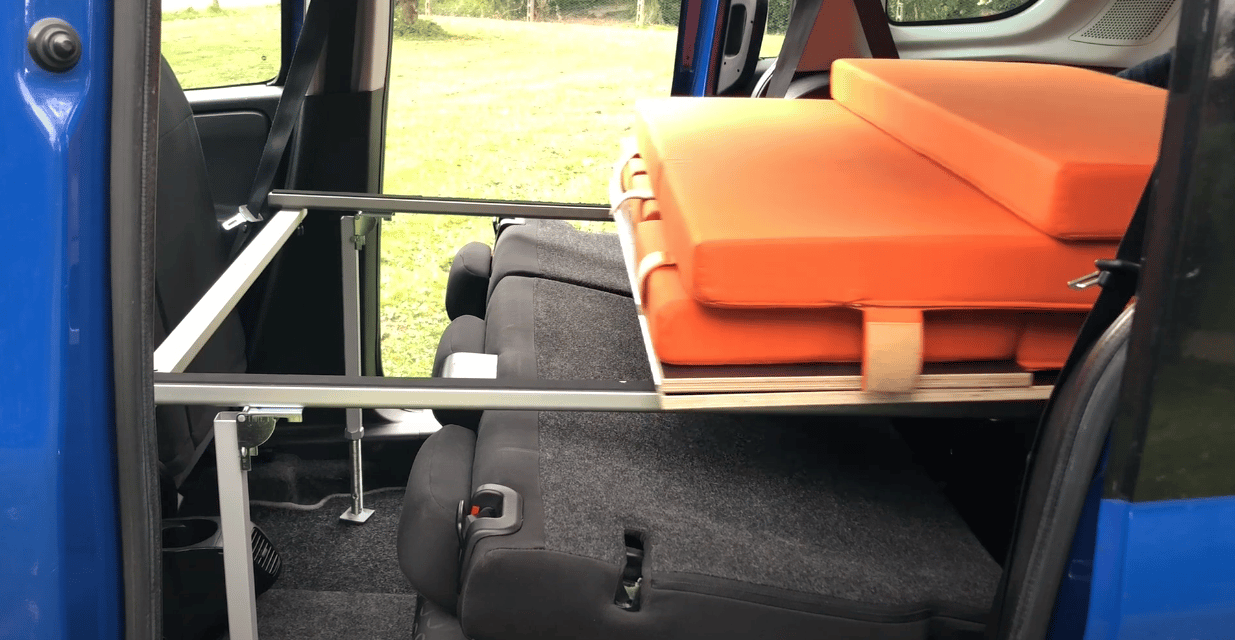 The rear boxes combine with front frame members to support the entire single or double bed