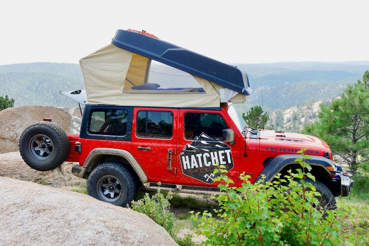 The Hatchet Camper takes advantage of its Jeep Wrangler base in seeking out remote campsites over rugged paths