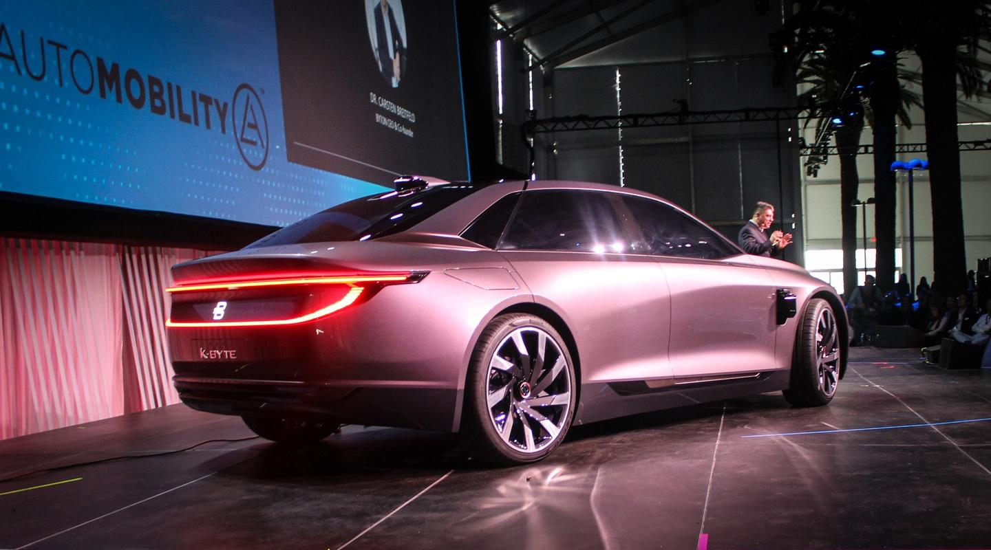 Byton shows the K-Byte Level 4 autonomous smart sedan concept during the Automobility technology pre-show portion of the LA event