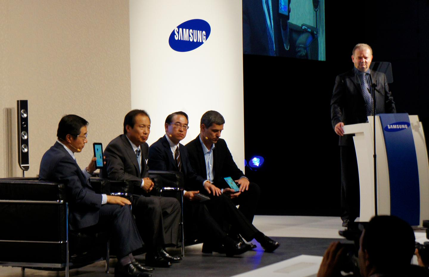 Samsung executives discuss the new tablet at the IFA launch
