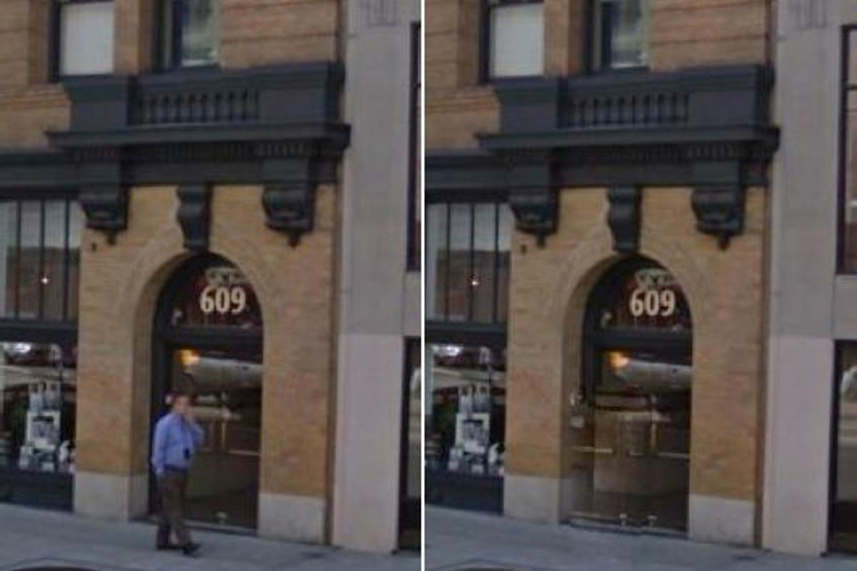 A pedestrian is removed from a Google Street View image using experimental new software