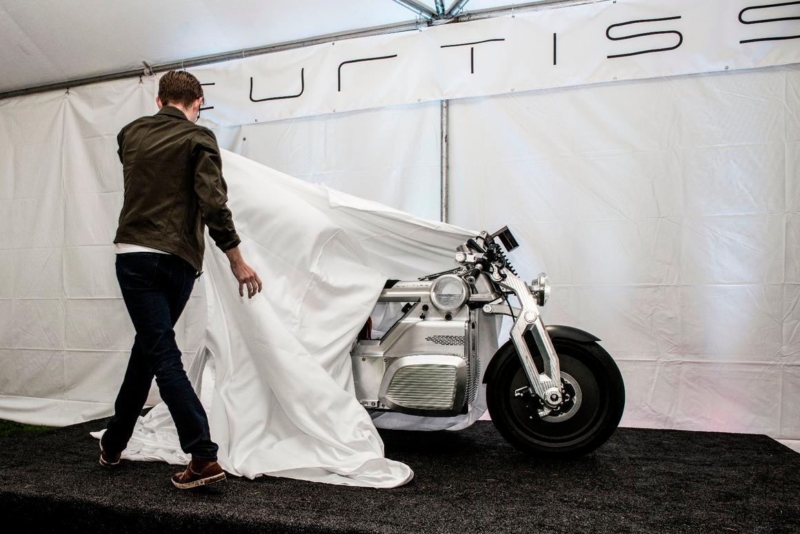 The Curtiss Zeus prototype made its debut at the QuailMotorcycle Gathering on May 5