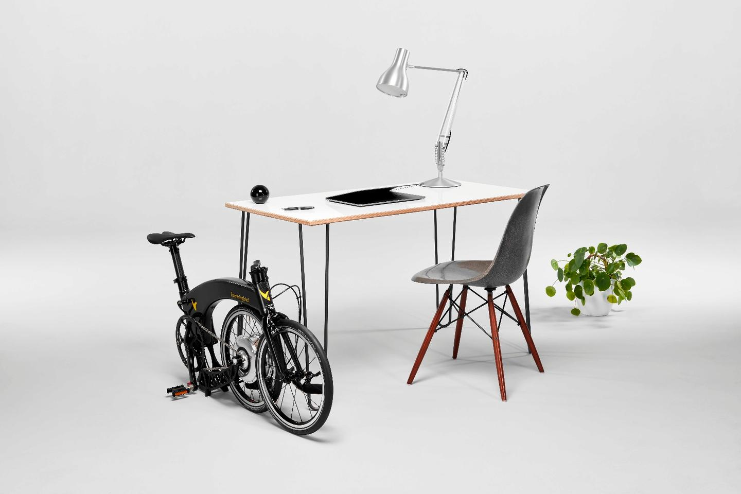 Ride the Hummingbird Electric to work and easily store it at the office