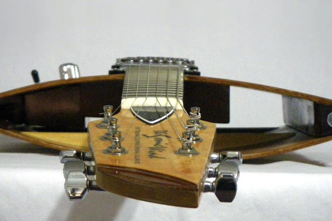 Instrument designer and builder Hector Trevino has created a radical open chamber guitar that he claims offers more resonance and natural sustain than traditional solid-body electric guitar designs