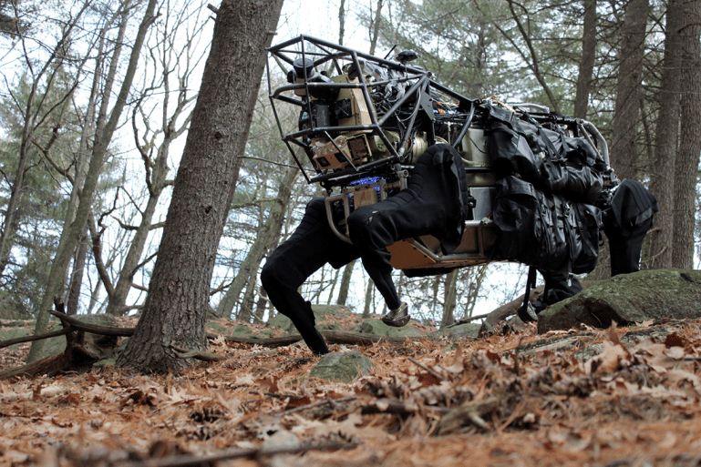 Boston Dynamics' LS3 robot pack mule, developed for DARPA, goes on an outdoor excursion