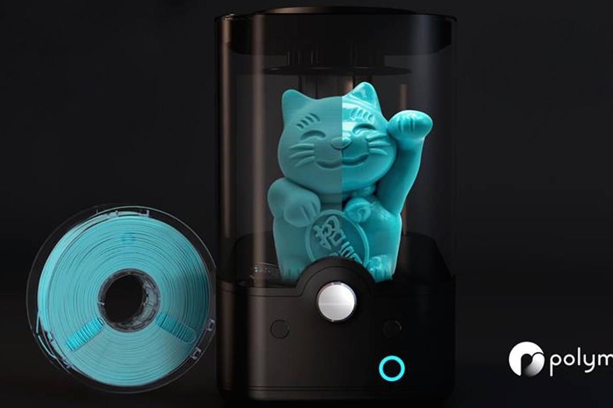 A spool of PolySmooth, and an item printed with it going through the Polysher