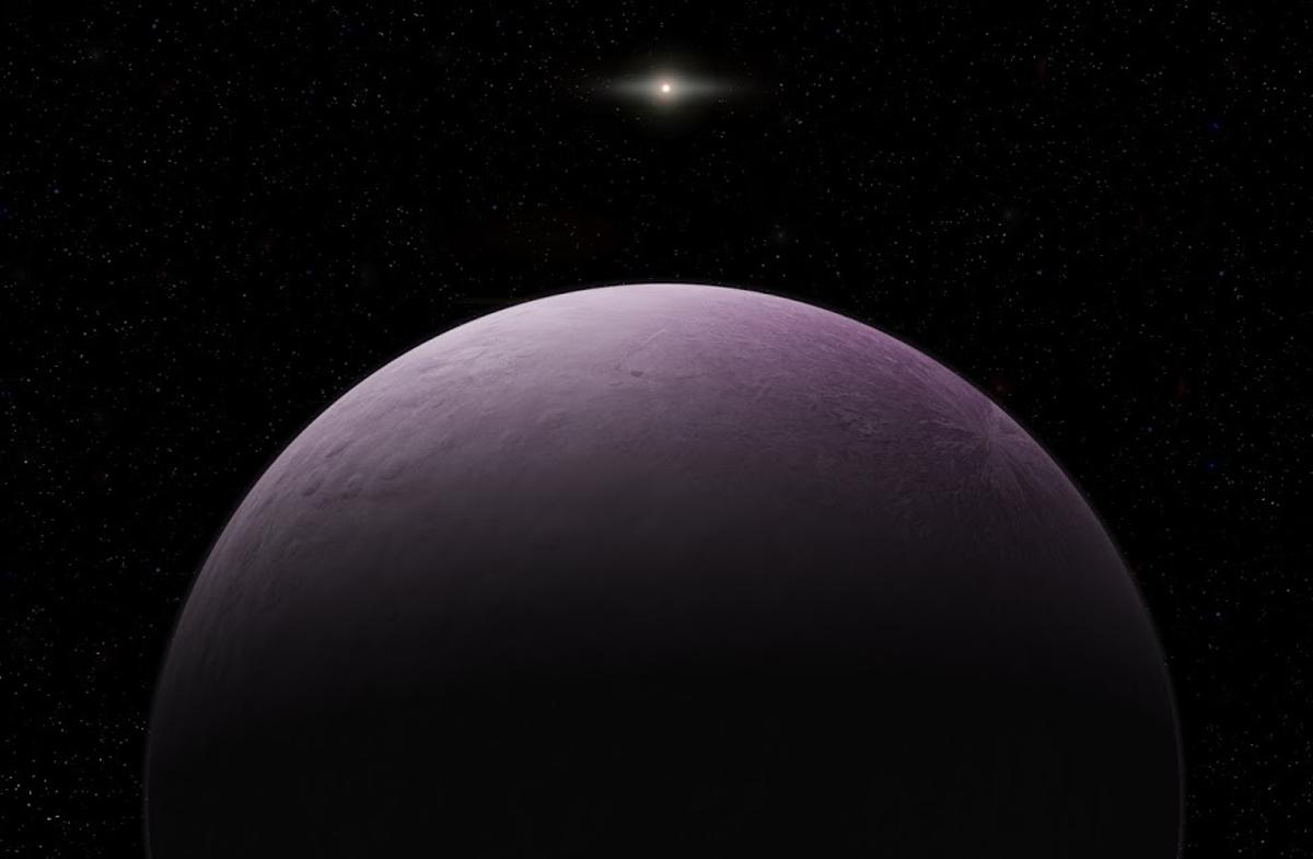 "An illustration of the new dwarf planet 2018 VG18, nicknamed ""Farout"""