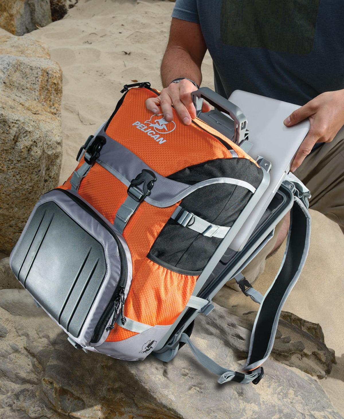 The Pelican ProGear S100 Sport Elite includes a hard, watertight laptop case in the back