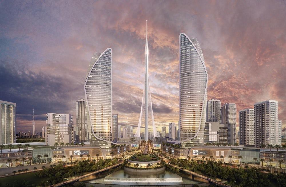 The Dubai Creek Tower must surpass the Burj Khalifa's height of 829.8 m (2,723 ft) if it is to become the world's tallest building