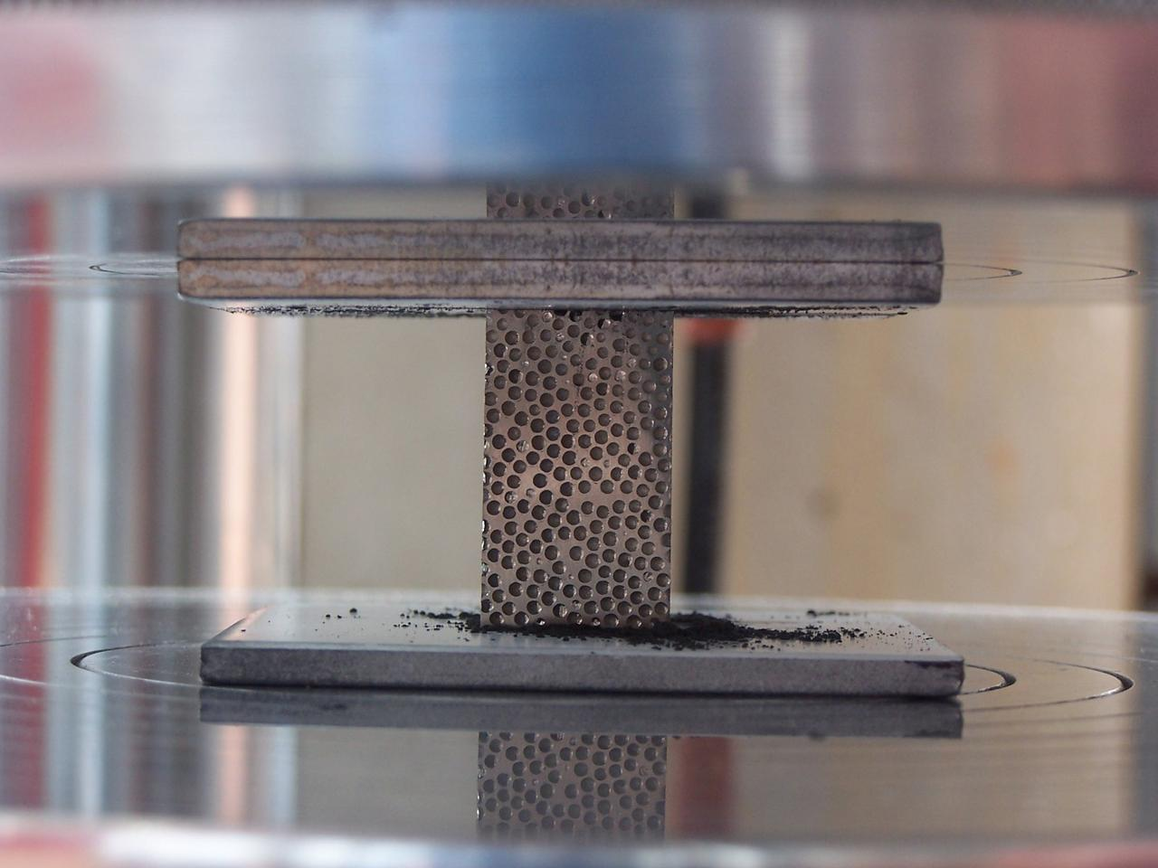 A sample of the composite metal foam developed by Rabiei's research team