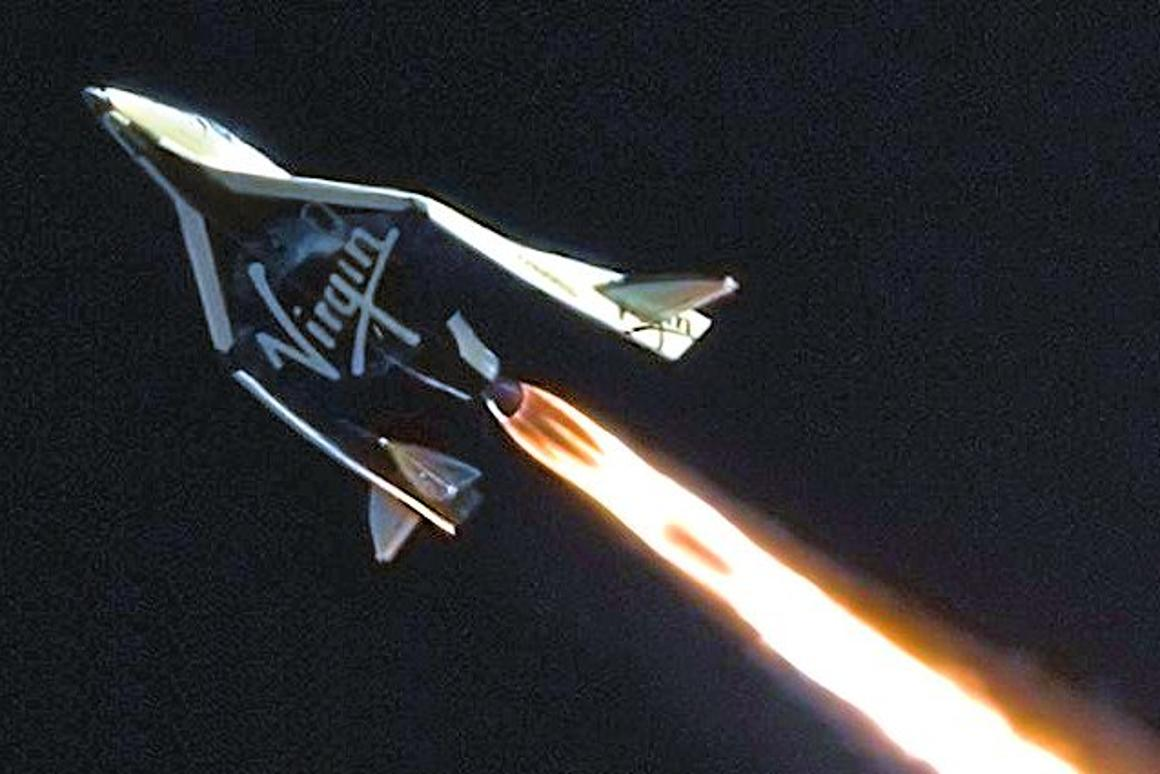 Virgin Galactic's SpaceShipTwo on its way to a record 71,000 ft altitude and Mach 1.4 (Photo: Virgin Galactic)