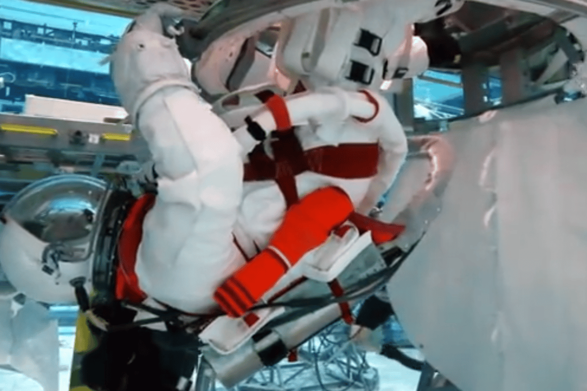 The new suit undergoing neutral buoyancy testing (Image: NASA)