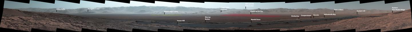 An annotated version of the panorama, highlighting the route the Curiosity rover has taken since its landing and thelandmarks it's investigated along the way