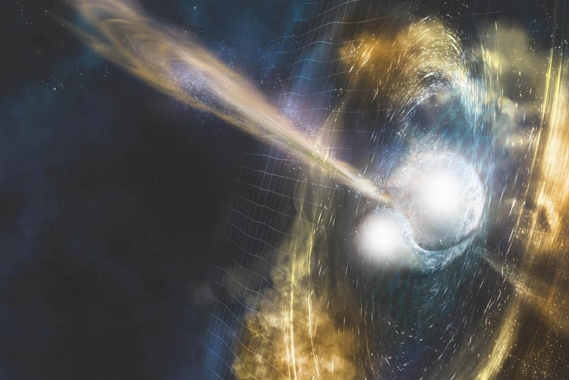 An artist's illustration of two neutron stars colliding in an event called a kilonova