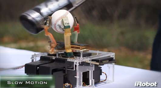 iRobot tests the durability of its new robot hand by smashing it with a baseball bat