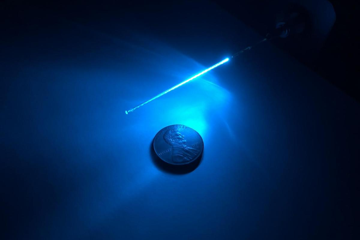 One of the far-UVC-diffusing optical fibers used in the study