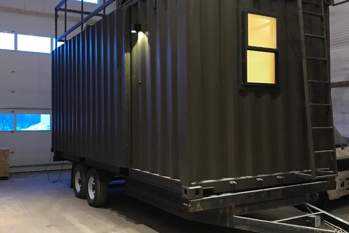 Shipping Container Trailer >> Shipping Container Based Tiny House Can Be Towed Or Stowed