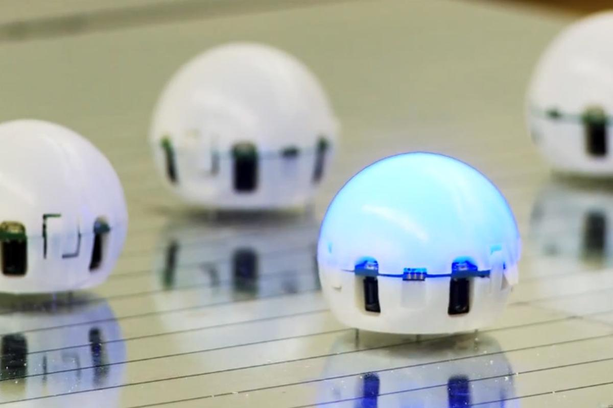 "Small swarm robots, like these ""Droplets"" developed at the University of Colorado Boulder, work together to complete big jobs"