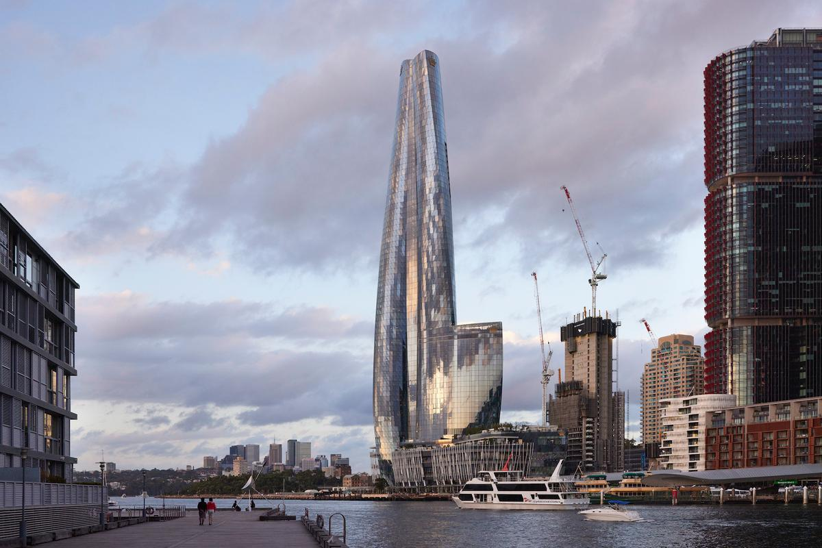 One Barangaroo was designed by WilkinsonEyre and reaches a height of 890 ft (271 m) in Sydney, Australia. The project has been named the winner of the 2021 Emporis Skyscraper Award