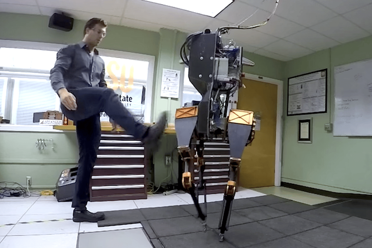 An ATRIAS bipedal bot can recover from a swift, sudden kick (Photo: Oregon State University)