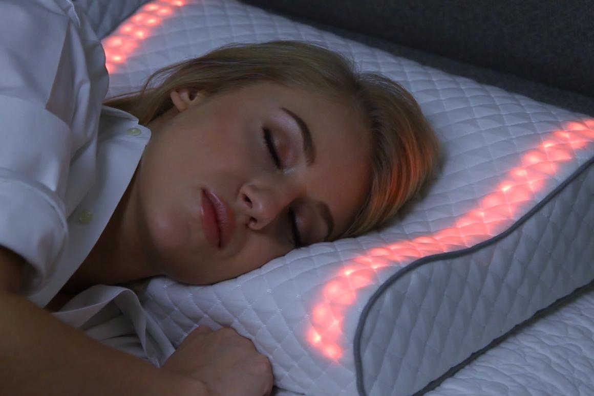 The Sunrise Smart Pillow's LEDs start out in a warm amber color, then gradually transition to a brighter yellow as the alarm time approaches