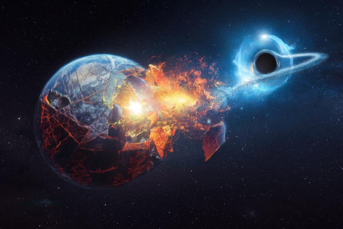 A visualization depicting what would happen if the Earth were to encounter a black hole
