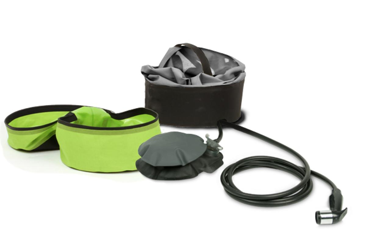 The Helio has a foot pump, carry case, water holder and 7-foot (2.1-m) shower hose