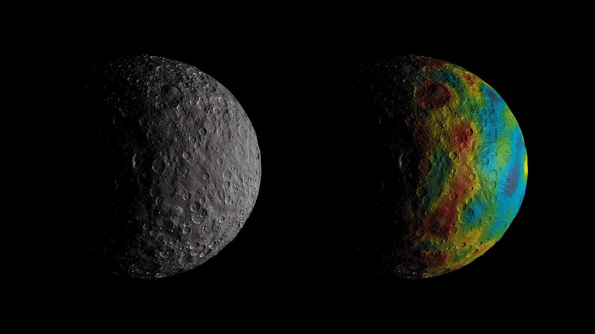 The color-coded map (right) shows the gravity measurements of the dwarf planet Ceres, which reveals data about its internal structure
