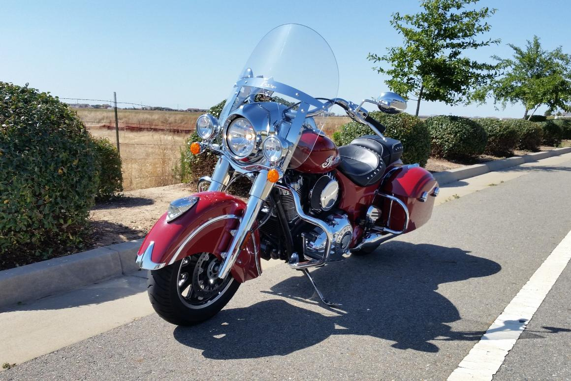The Indian Springfield offers torque chewing power and quick release windshield and hardbags