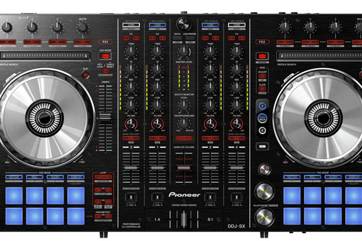 The DDJ-SX is the first four-channel DJ controller to feature Serato software