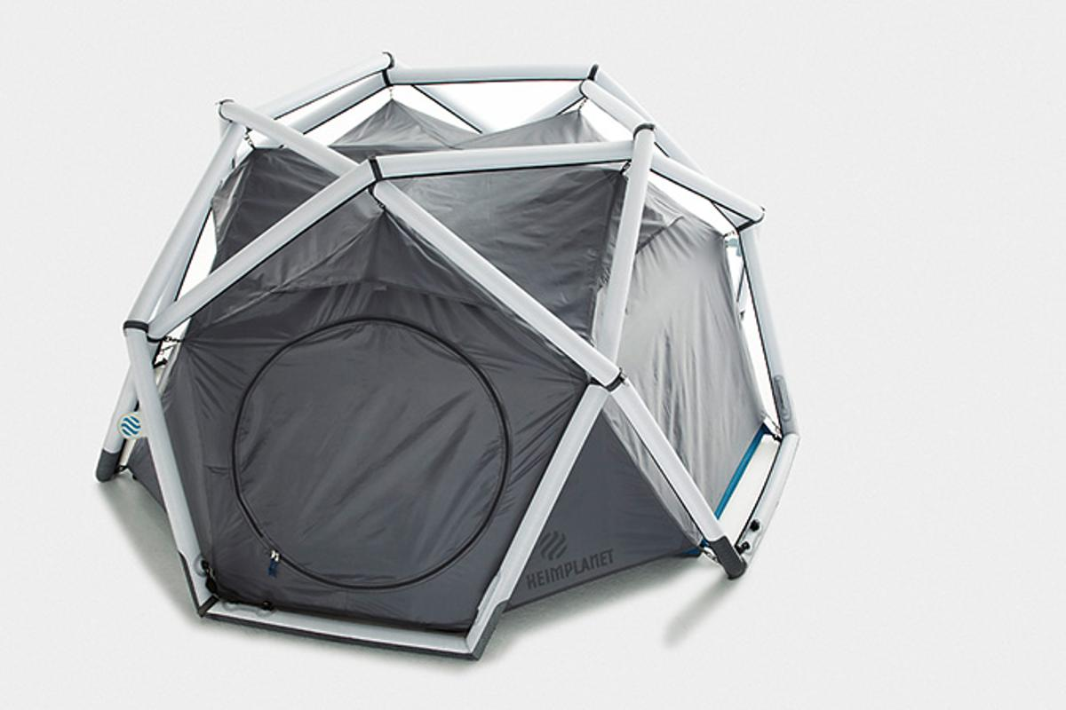 "The inflatable geodesic ""Cave"" tent from Heimplanet"