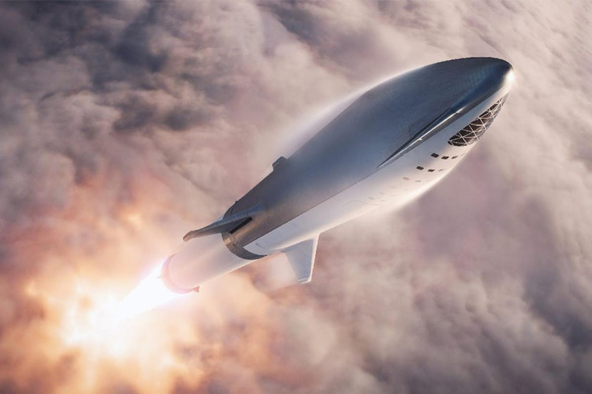Render of SpaceX's Starship in flight