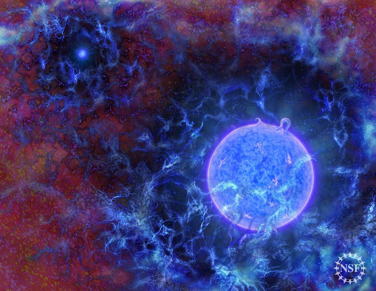 An artist's rendition of the very first stars to appear in the Universe, about 180 million years after the Big Bang